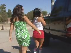 Lesbian Strapon, Babe, Brunette, Lesbian, Outdoor, Pussy