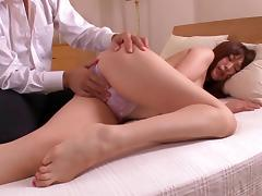 Sizzling Asian babe with nice big tits enjoying a hardcore fuck on her bed
