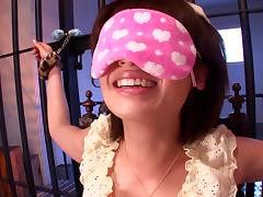 Blindfolded Asian skank gets her cunt toyed by a few men