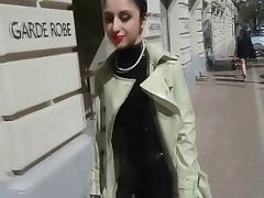 Latex Trench Coat and Catsuit in Public tube porn video