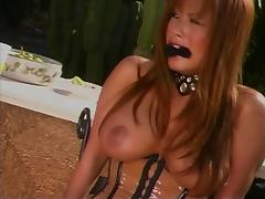 Hot horny BDSM chick outside playing