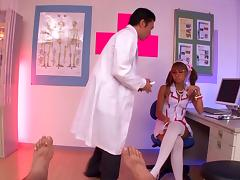 Japanese hussy wearing nurse uniform gets fucked in all known poses