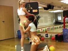 Cindy and Amber humping each other in the gym tube porn video