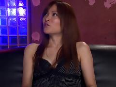 Adorable Japanese milf in high heels takes on two cocks in a wild threesome