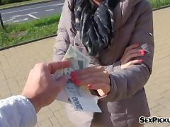 Cutie eurobabe Ashley Woods screwed up in public for cash