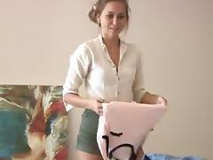 A cute amateur girl picks out the underwear she wants to wear
