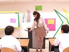Teacher, Asian, Blowjob, Bra, Close Up, College
