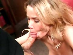 Anal blond cock sucker gets fucked and creamed on the sofa