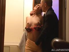 Dainty Asian pornstar with natural tits groans erotically while getting her pussy fingered