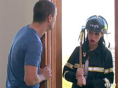 A sexy female fireman inspects this guy's house the rides his hose
