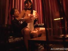 Elegant Japanese pornstar in sexy lingerie giving a wild blowjob in public