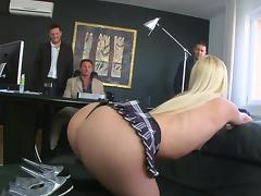 Zestful blonde shows off gaping butt hole after getting gang banged hardcore in the office