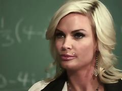 Depraved blond teacher Diamond Foxxx rides a wang at her work place porn tube video
