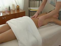 Hot massage fuck with a horny masseur and a hottie