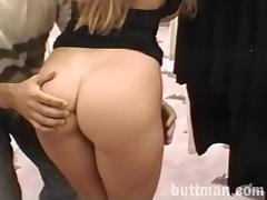 Hardcore retro doggystyle sex scene with naturally busty blonde