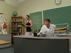 College cowgirl showcasing her hot ass then getting her shaved pussy smashed hardcore by her teacher