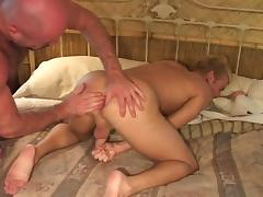 Hairy gay guy with a great body getting his big cock sucked