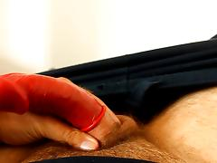 J-Art male solo cock stroking with a condom on tube porn video