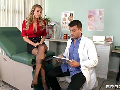 Horny blonde with big tits seduces doctor then gets her shaved pussy slammed hardcore