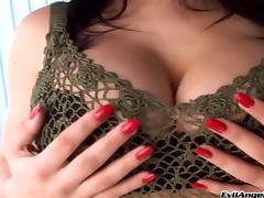 Curvy porn star with nice big tits enjoying a hardcore MMF threesome