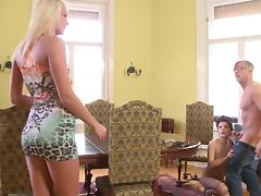 Dynamic pornstars getting their asses screwed hardcore in a captivating ffm threesome