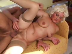 Slutty old woman fucking a hard cock