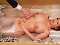 Charming Asian dame with big tits coping up with massive dick hardcore missionary