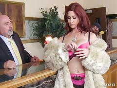 Adorable redhead cougar with big tits yelling while being smashed hardcore missionary