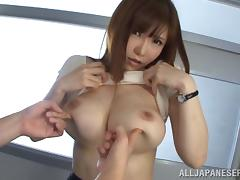 Elegant bimbo moaning as her natural tits are getting fiddled
