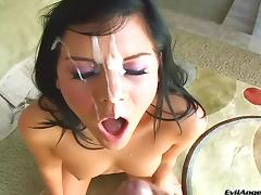 She gives head then gets his hot cum blasted all over her face