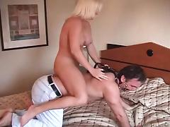A curvy blonde mistress takes charge and rides her man like mule