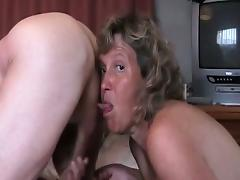 Granny licking balls and dick while dude jerks off