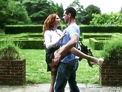 Redhead dame in high heels giving her guy blowjob before getting drilled hardcore outdoor