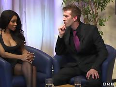 Horny Ebony In Nylon Stocking Giving Huge Dick Blowjob
