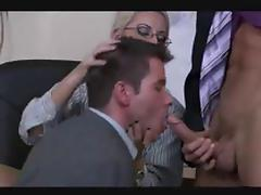 Bisexual threesome in the office porn tube video