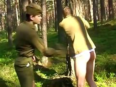 Salacious poofter in military uniform gets his ass spanked in the forest