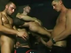Submissive twink gets a nasty gay gangbang