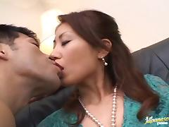 Japanese milf chick Nana Nanami has three guys trying make her cum loud