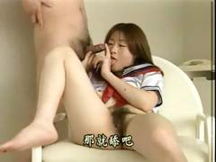 Japanese schoolgirl gets down and dirty with an older man
