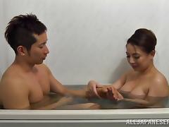 Bath, Asian, Bath, Big Tits, Blowjob, Couple