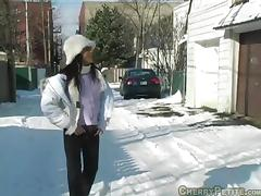 Porn Chick Cherry Petite gets a hot cock on snow in pov blowjob porn tube video