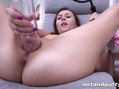 Fantastic brunette solo model drills her pussy with a giant dildo while masturbating