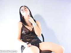 Masturbating solo model rubs her pussy using a vibrator in a close up scene tube porn video