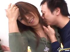 Jizz shot all over Nana Nanami's mouth and ass by two guys