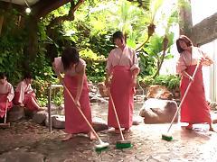 A few sensual Japanese women share a boner in outdoor scene