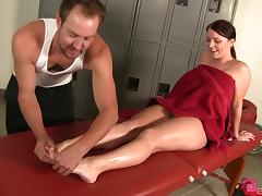 Chubby brunette pornstar gets an oily massage then gets drilled hardcore