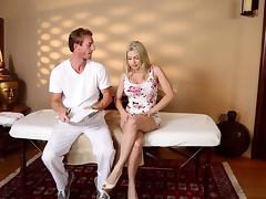 A guy massages a chick then has a 69 with her on the massage table