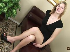 Cute blonde gives a blowjob and takes a sticky facial