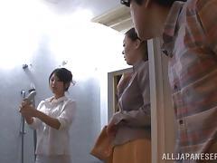 Stunning porn angel Erika Masuwaka gives hard dick a good blowjob