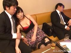 Gorgeous Japanese babe in fishnet stockings getting her pussy jammed doggy style porn tube video